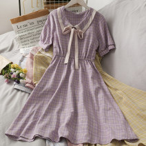 Dress Summer 2021 Average size Middle-skirt singleton  Short sleeve commute One word collar High waist lattice Socket 18-24 years old Type A 30% and below
