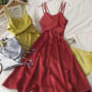 Dress Summer 2021 Red, yellow, white, black, grayish blue M, L longuette singleton  Sleeveless High waist Solid color Socket A-line skirt camisole 18-24 years old A281396 30% and below