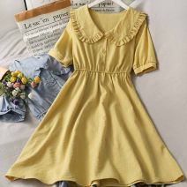 Dress Summer 2021 Blue, yellow, red, black, white, green, pink Average size Mid length dress singleton  Short sleeve High waist Solid color A-line skirt 18-24 years old A281114 30% and below