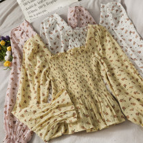 shirt Yellow, green, white, pink Average size Autumn 2020 other 30% and below Long sleeves Short style (40cm < length ≤ 50cm) square neck 18-24 years old A279839
