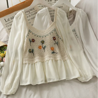 shirt Apricot, white Average size Summer 2021 other 30% and below Long sleeves commute Short style (40cm < length ≤ 50cm) square neck 18-24 years old A280774