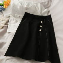 skirt Summer 2021 S,M,L,XL black Mid length dress A-line skirt Solid color 18-24 years old A281271 30% and below other other