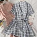 Dress Summer 2021 Yellow, light green, red, blue, pink, dark green Average size Short skirt singleton  Short sleeve 18-24 years old A281493 30% and below