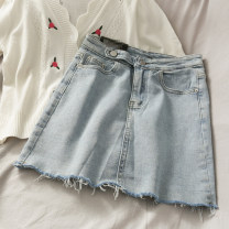 skirt Summer 2020 S,M,L wathet Short skirt High waist Solid color 18-24 years old 30% and below