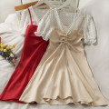 Dress Spring 2021 Black, red, apricot Average size Mid length dress Fake two pieces Short sleeve commute Solid color Socket camisole 18-24 years old Korean version A280460 30% and below other other