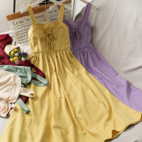Dress Summer 2021 Black, red, green, apricot, yellow, purple M, L Mid length dress singleton  Sleeveless High waist Solid color A-line skirt camisole 18-24 years old A281044 30% and below