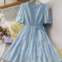 Dress Summer 2021 blue , violet , yellow , white Average size Middle-skirt singleton  Short sleeve High waist Solid color 18-24 years old A280940 30% and below