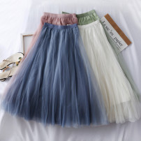 skirt Autumn of 2019 Average size White, light gray, dark gray, brown, black, off white, blue, light green, bean powder, apricot pink Mid length dress High waist A-line skirt Solid color 18-24 years old A24534