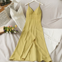 Dress Summer 2021 Yellow, white M, L longuette singleton  Sleeveless High waist Solid color camisole 18-24 years old A280674 30% and below