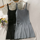 Dress Summer 2021 Gray, black Average size Short skirt commute middle-waisted Solid color Socket One pace skirt camisole 18-24 years old Zipper, fold A280698 30% and below nylon