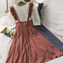 Dress Summer 2021 Khaki, black, brick red, grey blue Average size longuette singleton  Long sleeves Doll Collar High waist Solid color A-line skirt camisole 18-24 years old A280931 30% and below other other