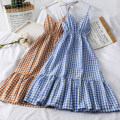 Dress Autumn of 2019 Yellow, blue, red, black, orange Average size Mid length dress singleton  Sleeveless commute High waist lattice Socket A-line skirt camisole 18-24 years old Type A Korean version A26165 30% and below