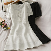 Dress Summer 2021 Black, white M, L Middle-skirt singleton  Short sleeve commute lattice zipper 18-24 years old Type A A281083 30% and below other other
