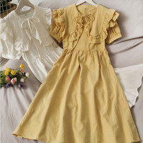 Dress Summer 2021 Yellow, white Average size Middle-skirt singleton  Short sleeve High waist Solid color 18-24 years old A281040 30% and below