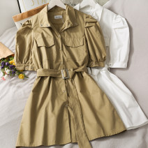 Dress Summer 2021 Khaki, white, green Average size longuette singleton  Short sleeve Polo collar High waist Solid color Single breasted routine 18-24 years old 31% (inclusive) - 50% (inclusive) other