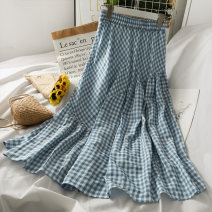 skirt Summer 2021 Average size Blue, black Mid length dress Versatile High waist Irregular lattice Type A 18-24 years old A281480 30% and below Lace up, solid
