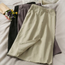 skirt Autumn 2020 S, M Black, purple, apricot Mid length dress Versatile High waist A-line skirt 18-24 years old A279370 30% and below