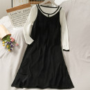 Dress Summer 2021 black Average size Middle-skirt singleton  Long sleeves Crew neck middle-waisted Solid color Socket One pace skirt 18-24 years old A280688 30% and below