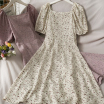 Dress Summer 2021 Apricot, blue, black, pink Average size Mid length dress singleton  Short sleeve commute square neck High waist Socket 18-24 years old Type A A281018 30% and below