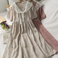 Dress Summer 2021 01,02,03,04,05 Average size Mid length dress singleton  Short sleeve High waist Broken flowers 18-24 years old A281367 30% and below
