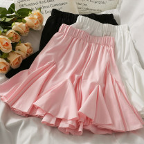 skirt Summer 2021 Average size Black, white, pink Short skirt High waist A-line skirt Solid color 18-24 years old A281518 30% and below other