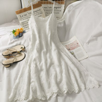 Dress Summer 2021 white Average size Mid length dress singleton  High waist Solid color camisole 18-24 years old A281311 30% and below other other