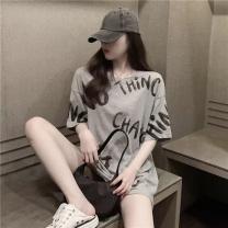 T-shirt Grey, white Average size Summer 2021 Short sleeve easy Medium length cotton 96% and above 2509#