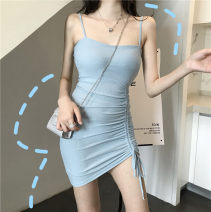 Dress Summer of 2019 Green, blue, black Average size Short skirt singleton  commute High waist Socket One pace skirt camisole Other / other Korean version backless