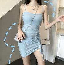 Dress Summer of 2019 Green, blue, black Average size Short skirt singleton  commute High waist Socket One pace skirt camisole Other / other Korean version backless