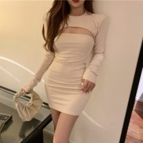 Dress Autumn 2020 Apricot, grey, black, mocha, haze blue Long sleeve top, bra skirt Short skirt Two piece set Long sleeves Sweet Crew neck High waist Solid color Socket Breast wrapping Type A More than 95% brocade cotton