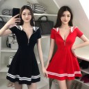 Dress Spring 2020 Black, red L,M,S,XL Short skirt singleton  Short sleeve Sweet High waist Solid color Socket A-line skirt other Others 18-24 years old Type A 81% (inclusive) - 90% (inclusive) other cotton princess