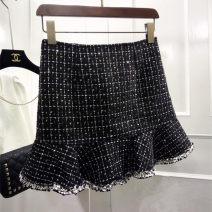 skirt Summer 2020 S,M,L Black, white Short skirt Versatile High waist Ruffle Skirt lattice Type A 25-29 years old