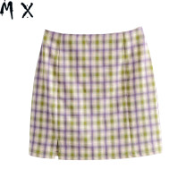 skirt Summer 2020 XS,S,M,L Green, khaki, purple green, Navy green, pink Short skirt street High waist A-line skirt lattice 25-29 years old 51% (inclusive) - 70% (inclusive) other cotton Europe and America