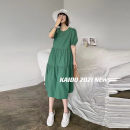 Dress Summer 2021 Green, white, watermelon red, collection plus purchase priority delivery S,M,L,XL Mid length dress singleton  Short sleeve commute Crew neck lattice Socket A-line skirt routine 25-29 years old Type A Other / other T4721 81% (inclusive) - 90% (inclusive)