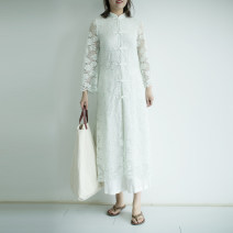 Dress Summer of 2018 Aqua, xl207 (limited to minor defects) S longuette singleton  Nine point sleeve commute stand collar middle-waisted Solid color Single breasted other pagoda sleeve Others 25-29 years old Type H Cotton and linen Retro Button, lace, hollow out XL132 30% and below Lace cotton