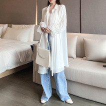 shirt White, light purple One size, bigger Summer 2020 other 96% and above Long sleeves Sweet Medium length stand collar Single row multi button pagoda sleeve Solid color Straight cylinder Self made ancient rhyme Ruili Chiffon