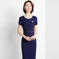Dress Summer 2021 Blue, black S,M,L,XL,2XL,3XL Middle-skirt singleton  Short sleeve commute Crew neck middle-waisted Solid color Socket One pace skirt routine Others 25-29 years old Type X Ol style 31% (inclusive) - 50% (inclusive) brocade nylon