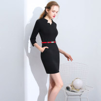 Dress Spring 2021 Black, blue, black short sleeves, blue short sleeves S,M,L,XL,2XL,3XL Short skirt singleton  three quarter sleeve commute V-neck middle-waisted Solid color Socket One pace skirt routine Others 25-29 years old Type X Ol style Pocket, zipper 30% and below brocade nylon