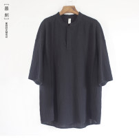 T-shirt other black , white , grey , Light blue grey thin M , L , XL , 2XL , 3XL , five - About 7 days Moke Short sleeve stand collar easy Other leisure summer A36 Chinese style Cotton and hemp