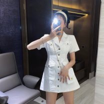 Women's large Summer 2020 White army green S M L XL 2XL 3XL Dress commute Korean version A02057 Little IDA's flower 18-24 years old Other 100% Pure e-commerce (online only)