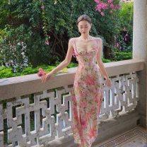 Women's large Summer 2021 Rose Pink honey orange S M L XL 2XL 3XL Dress commute Korean version A04049 Little IDA's flower 18-24 years old Other 100% Pure e-commerce (online only)