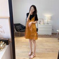 Women's large Summer 2020 Black orange S M L XL 2XL 3XL commute Korean version A02631 Little IDA's flower 18-24 years old Other 100% Pure e-commerce (online only)