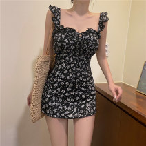 one piece  Tagkita / she and others M,L,XL Picture color Skirt one piece With chest pad without steel support Nylon, spandex, others female Sleeveless Casual swimsuit other backless