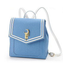 Backpack PU Black, blue brand new in Magnetic buckle Double root hard youth no Telescopic handle Solid color female All waterproof cotton Buckle yes PU