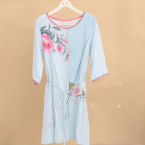 Nightdress Finthen  160(M),165(L),170(XL),175(XXL) Simplicity Middle sleeve Leisure home Middle-skirt summer Plants and flowers youth Crew neck cotton printing 21% (inclusive) - 40% (inclusive) Woven cotton fabric