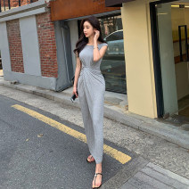 Dress Summer 2021 Gray, black S,M,L,XL longuette singleton  Sleeveless commute Crew neck High waist Solid color Socket One pace skirt other Others 25-29 years old Type A Korean version fold YLHY8236 81% (inclusive) - 90% (inclusive) brocade Cellulose acetate