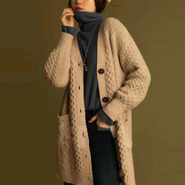 Wool knitwear Autumn 2020 2 = s, 3 = m, 4 = L, 5 = XL khaki Long sleeves singleton  Cardigan wool 30% and below Medium length routine commute easy V-neck routine Solid color Single breasted Korean version 1499121-7T17873-005 Pinge Dixin