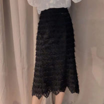 skirt Autumn 2020 1 code = XS (support for return and exchange), 2 code = s (support for return and exchange), 3 code = m (support for return and exchange), 4 code = l (support for return and exchange), 5 code = XL (support for return and exchange) black Mid length dress commute High waist skirt Lace