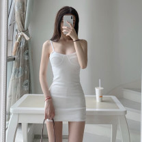 Dress Spring 2021 White perspective S,M,L Short skirt singleton  Sleeveless commute High waist Solid color Socket One pace skirt camisole Simplicity One piece