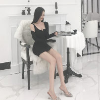 Dress Spring 2020 Grey, black, pink Average size Short skirt Two piece set Sleeveless commute High waist Solid color routine